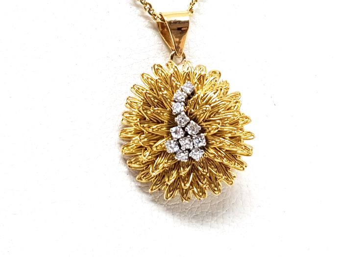 18 kt. Bicolour - Necklace with pendant - 0.43 ct Diamond