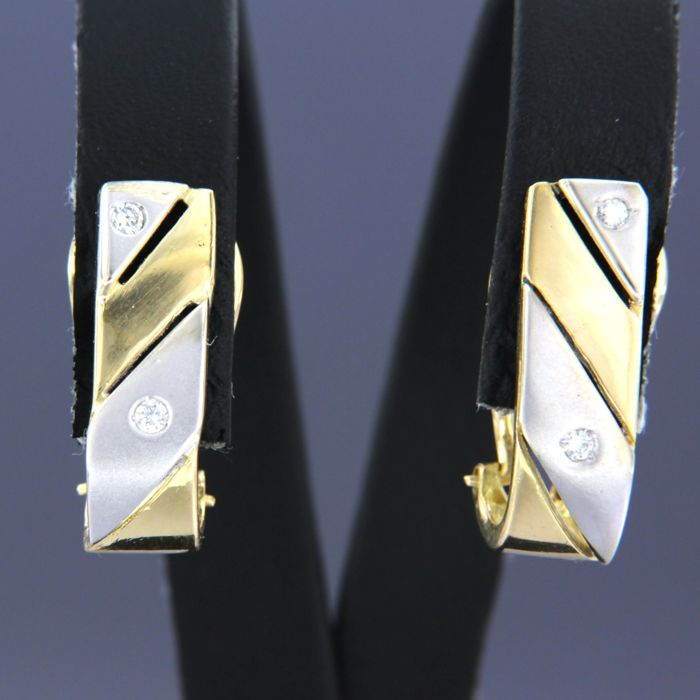 Pendientes - Bicolor - 0.08 ct - Diamante