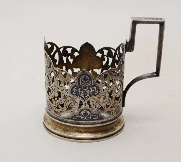 Tea cup holder - 1 - Zilver - Rusland - 1950-1999