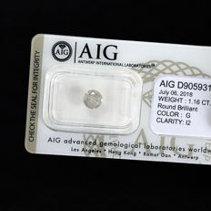 Natural Diamond - 1.16 ct, G / I2 - NO RESERVE PRICE