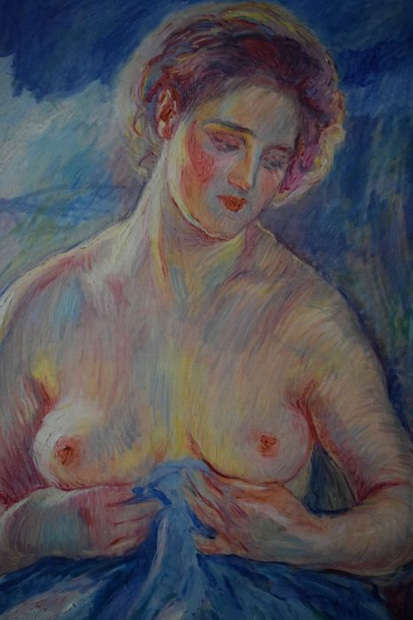 William Malherbe - Nude with blue blanket