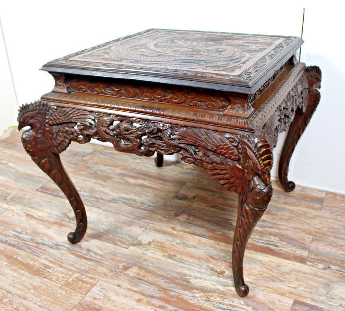 Magnificent exotic wood table decorated with overlaid and