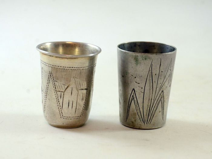 Silver vodka cups