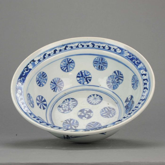 Blue and white decorated Charger Basin - China - late 19th century - Straits market