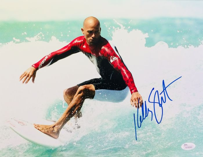 Kelly Slater / 11 Times World Surfing Champion - Authentic & Original Signed Autograph in Professional Photo ( 28 x 35 cm ) - with Certificate of Authenticity JSA