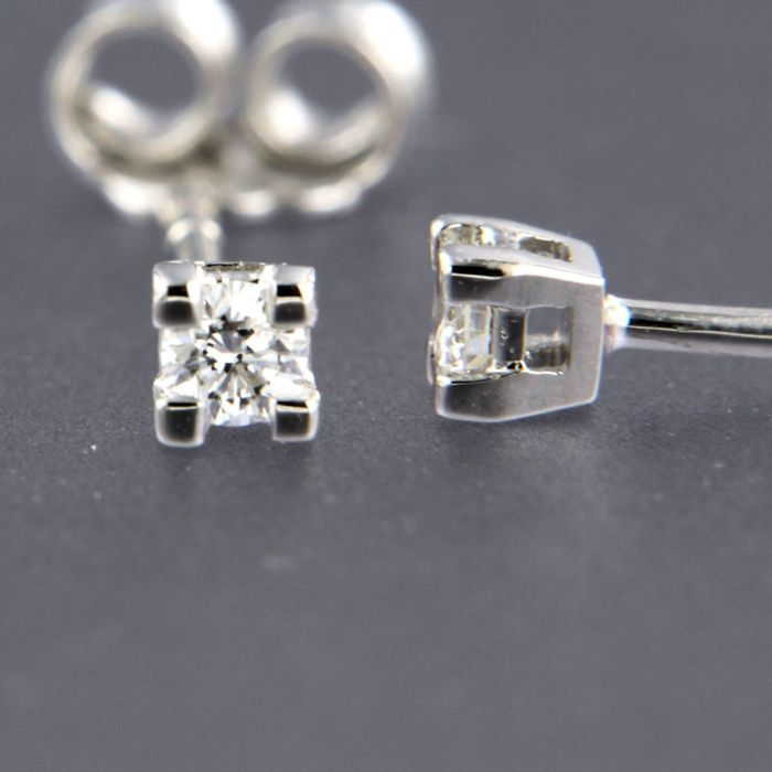 Earrings - White gold - 0.12 ct - Diamond