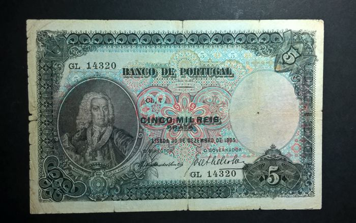 Portugal - Cinco Mil Reis 30/12/1909 - Ch 7 - Pick 104