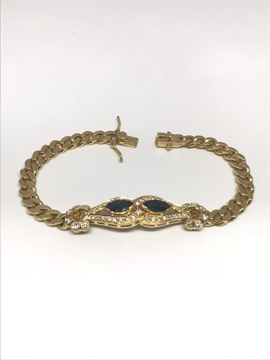 Bracelet in 18kt 750 gold, set with two oval sapphires of 0.2ct each, paved with H/VS1 quality diamonds of 0.7ct; bracelet length 18.5cm, it is a chain bracelet with a double security clasp