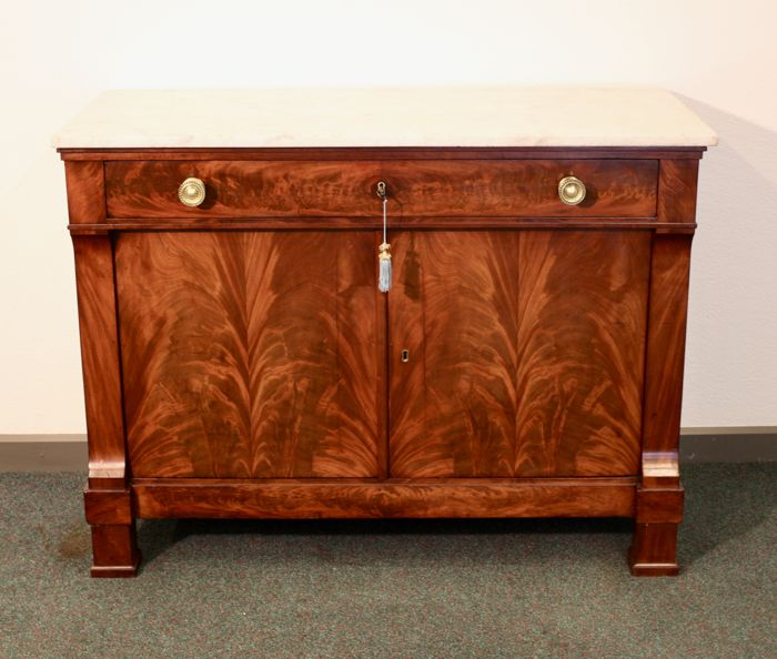 Commode - Hout, Eiken, Hout, Mahonie, Marmer - Empire