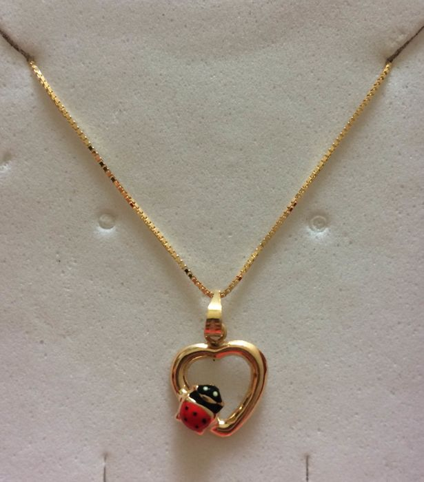 Venetian link necklace with pendant in 18 kt yellow gold - Necklace length 45.00 cm