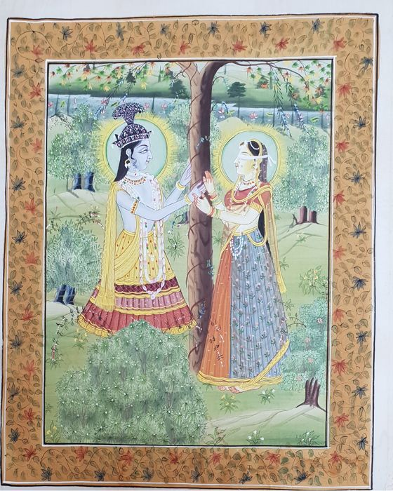 Painting on silk - India - late 20th century