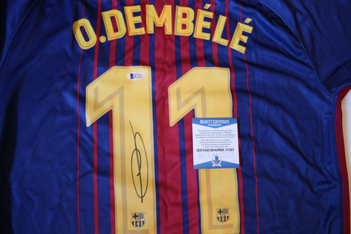 e899b5652 Ousmane Dembele  11 Signed Authentic Nike Barcelona Soccer Jersey Beckett  BAS WITNESSED COA Autographed. No reserve Price.