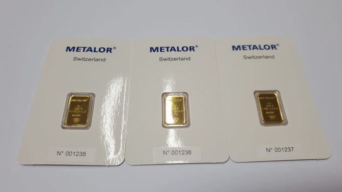 Gold ingot, 3 x 2 gr, Metalor Switzerland with certificate