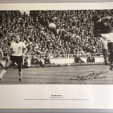 """1966 England World Cup Winner Sir Geoff Hurst Hand Signed 23.5"""" x 16.5"""" Print - Scorer of The 'Only' Ever World Cup Final Hat-Trick"""