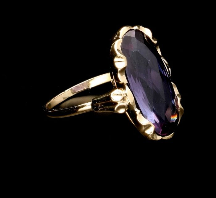 14 kt Yellow gold ring with Tourmaline - Ring size 18.75 mm