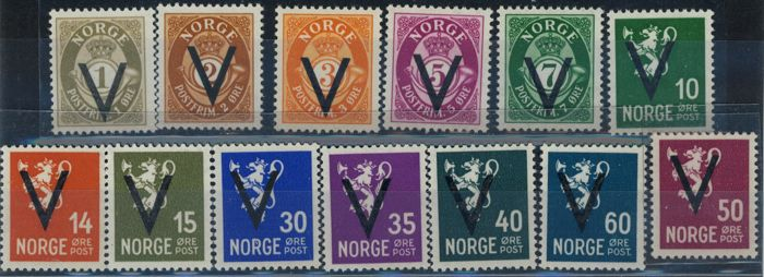 Norway 1941/1941 - ordinary mail, V victory sign, with watermark - Sassone 235a