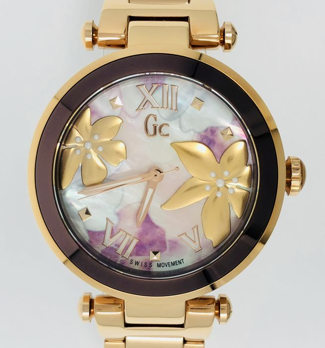 Guess - GC LadyChic IP Rose Gold Floral Pattern Swiss Made - Y21002L3 - Dames - 2011-heden