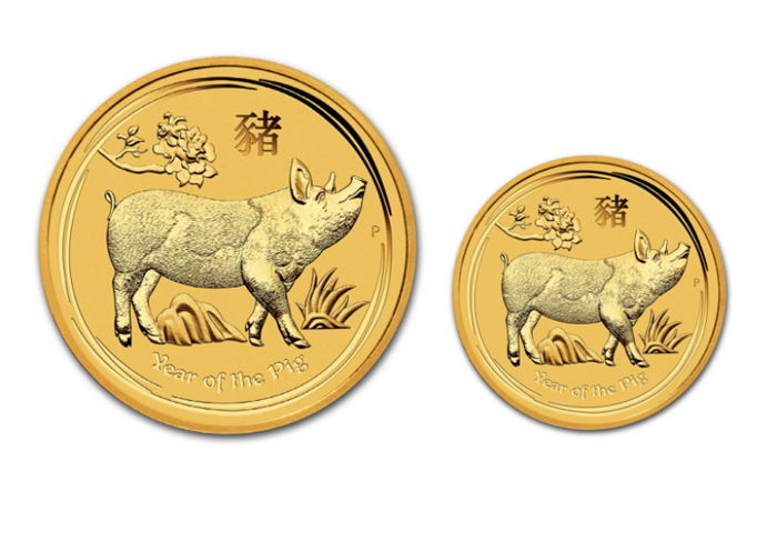 Australia - 5 & 15 Dollars 2019 Year of the Pig (2 coins) - 1/20oz + 1/10oz - Gold