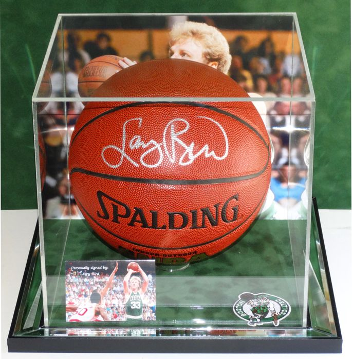 newest 7f826 2d2e0 Larry Bird full size signed basketball in mirror display ...