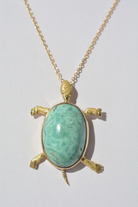 18 ct yellow gold Collier 16,34 g set with 20 ct Turquoise - size 44 cm. - Free resizing