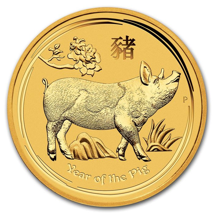 Austrália - 15 Dollars 2019 'Year of the Pig' - 1/10 oz - Ouro