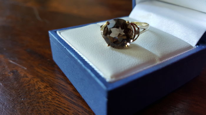 Yellow Gold Cocktail Ring set with Large Smoky Topaz & Diamonds. NO RESERVE PRICE!