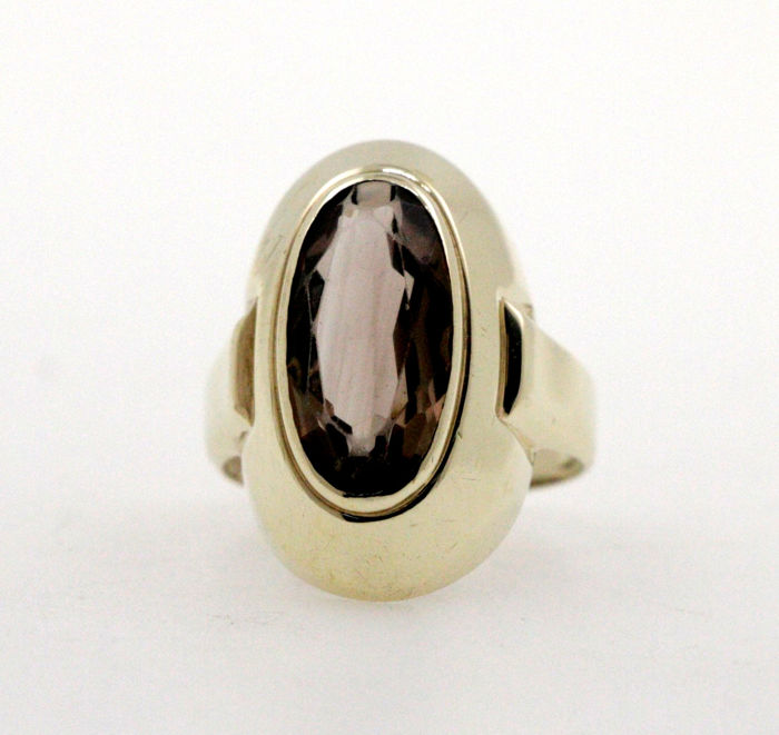 No reserve price!!! - 8 kt yellow gold ladies ring with 6.00 ct smoky topaz - ring size: 55 (EU)
