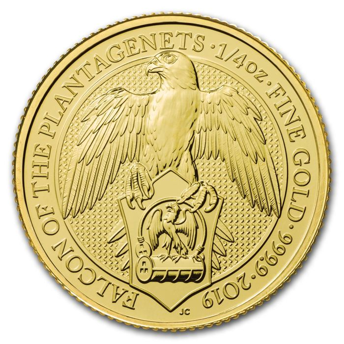 United Kingdom. 25 Pounds 2019 - Falcon of the Plantagenets - ¼ oz