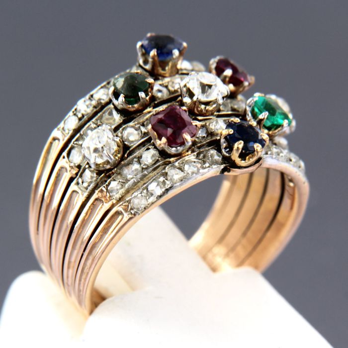 18k bi-colour gold ring set with ruby, sapphire, emerald and diamond - ring size 16 (50)