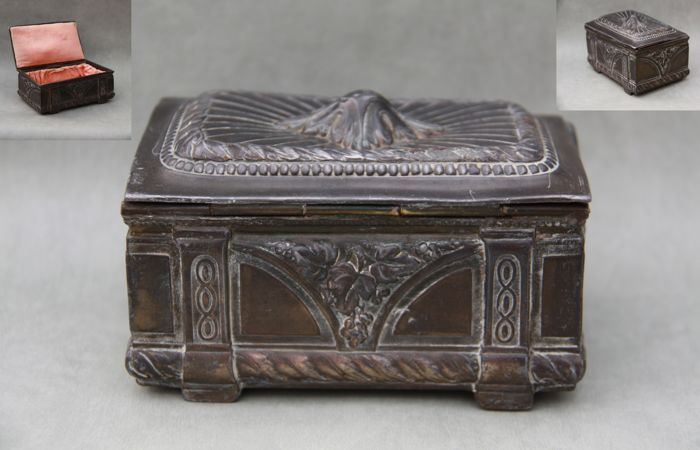 An decorated neo-baroque metal jewelry box, marked, ca. 1900
