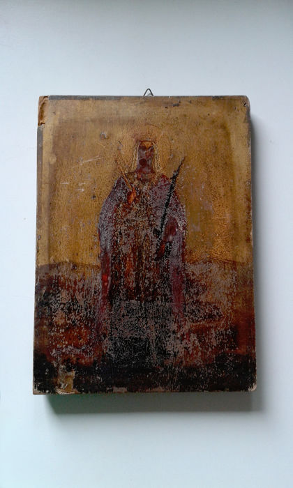 Late Byzantine Icon - Madonna holding a sceptre  Unknown author