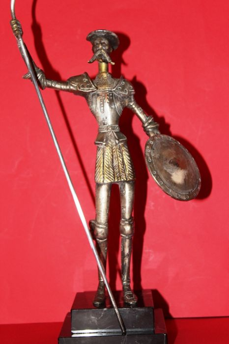 Silver plated solid bronze statue Quijote 1960s