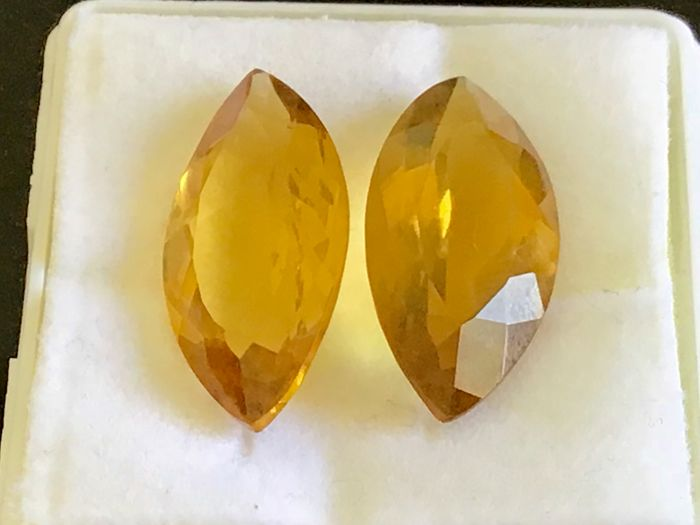 Intense Yellow Citrine Pair - 20.37 Carat Total