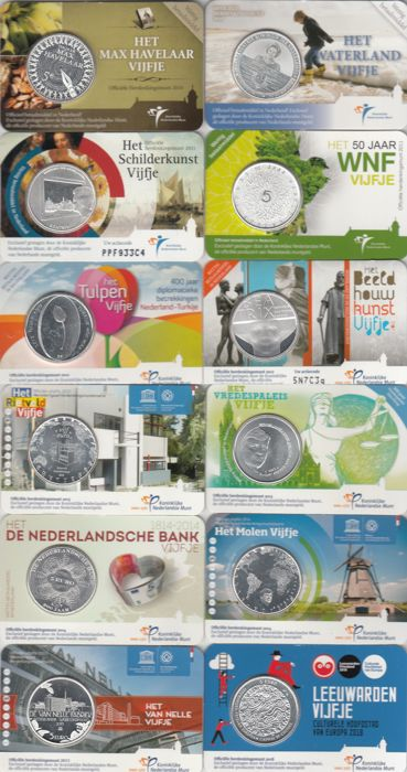 The Netherlands - 5 euro gelegenheidsmunten (12 verschillende) in coincards 2010-2018