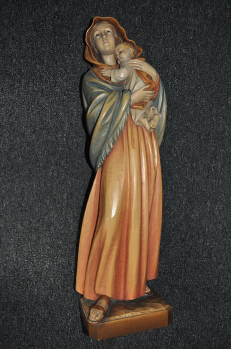 Large carved wooden figure of Mary and Jesus