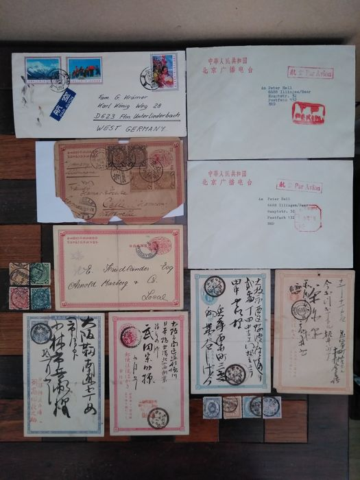 China and Japan - postcards, letters with a group of postage stamps