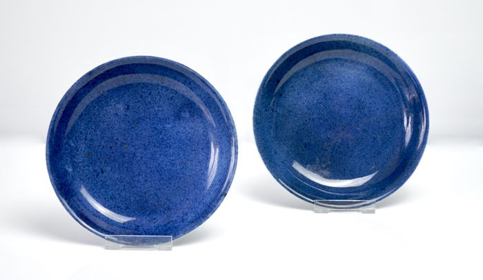 Fine Provenance Pair of Plates in Monochrome Powder Blue Glaze - China - Kangxi Period