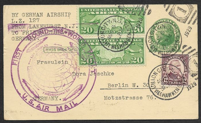 """United States of America 1929 - Zeppelin postcard """"First around the world Flight""""  - Sieger 28 A"""