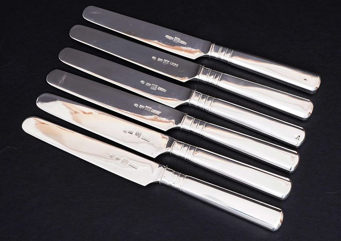 Set 6 Fruit Knives with Silver Blades - .875 (84 Zolotniki) silver