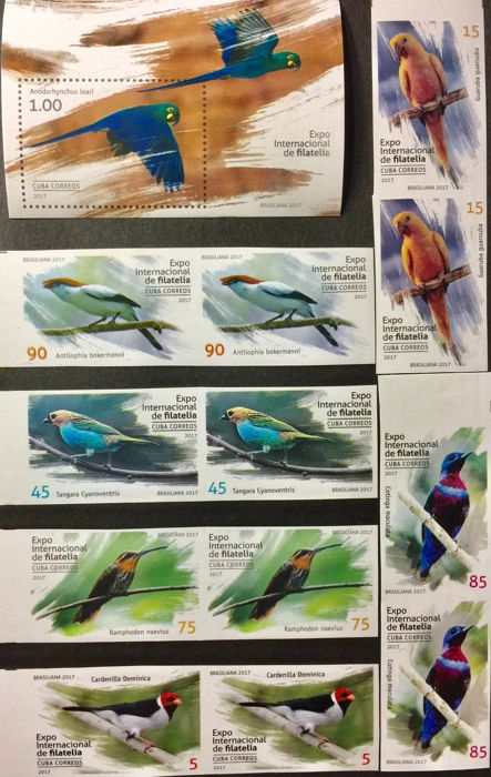 Cuba 2010/2018 - 171 imperforated stamps with themes of birds and animals