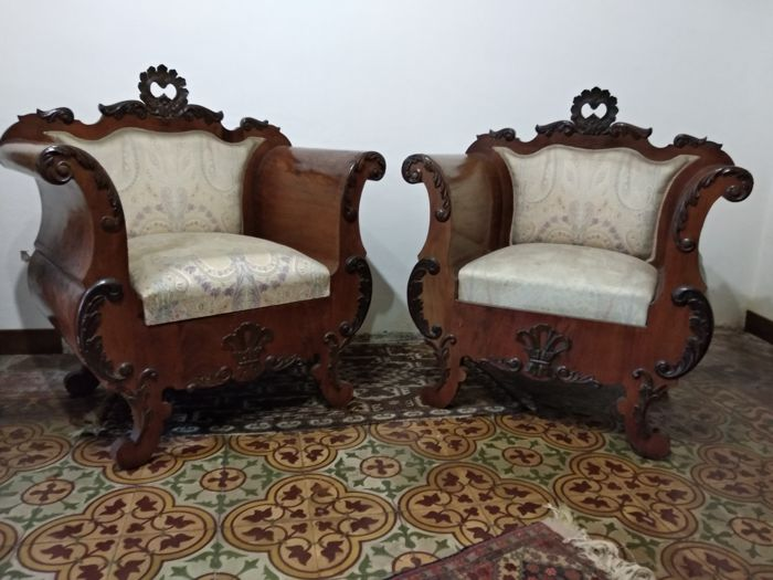 Antique Charles X guitar armchairs