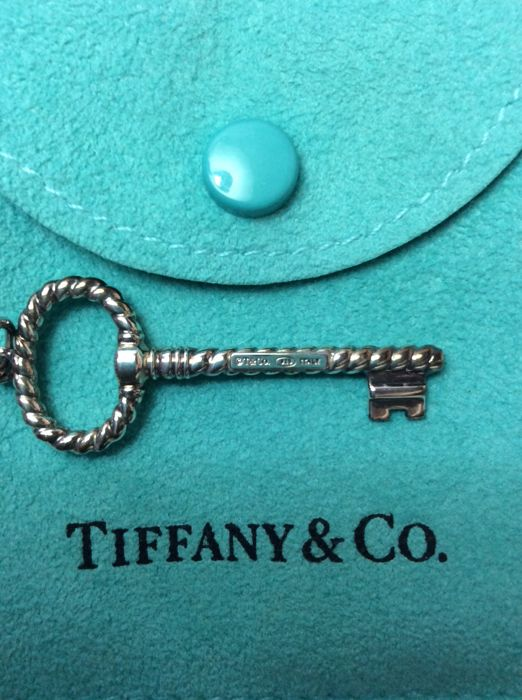 "Tiffany & Co. Sterling Silver Twist Braided Rope Heart Key Pendant - Size: Pendant is 1 5/8""."