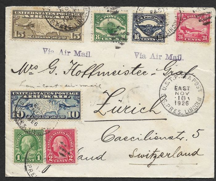 United States of America 1926 - Air Mail letter with USTP Sea Post markings