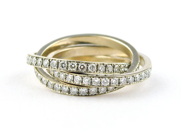 Full-setting Trinity Wedding Band with +/-3.00ct GH/VS set on 18k White Gold - E.U Size 52 *Re-sizable