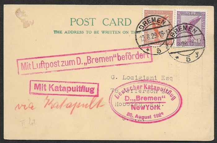 United States of America 1929 - Catapult postcard SS Bremen to New York