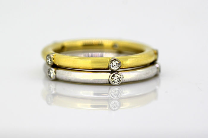 Vintage 18k gold unisex double ring with diamonds, London 2002