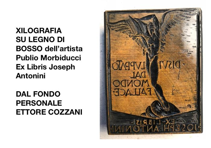 Publio Morbiducci (1889-1963) Uomo Alato-Ex libris - L'Eroica; one wood moulds for woodcuts - 1919