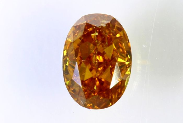 Diamante - 0.39 ct - Diamante Natural Oval - Naranja - SI1 - No Reserve