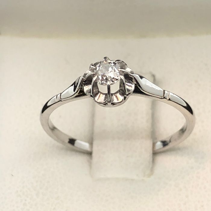 Solitaire Vintage 1920, Style OR750, chaton platine, diamant, taille 57
