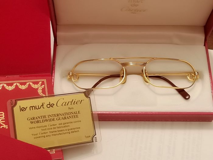 60315e05fd3d Cartier - Vintage eyeglasses in plated 18 kt gold - Catawiki